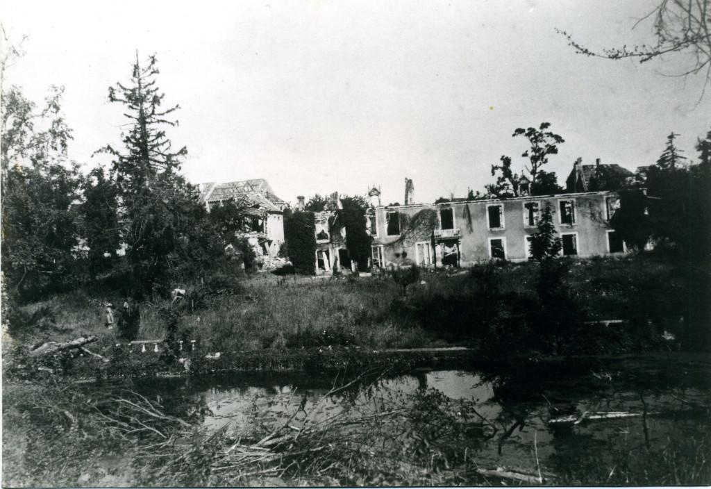 ruines du manoir après la libération